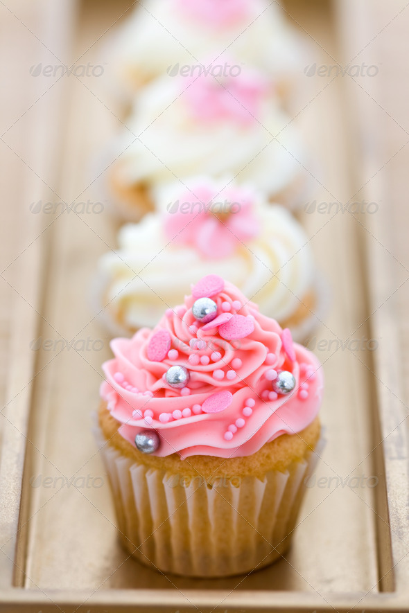 Pink and white cupcakes - Stock Photo - Images