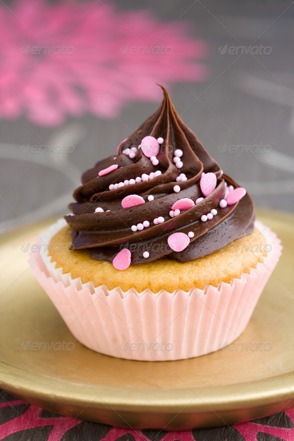 Pink chocolate cupcake - Stock Photo - Images