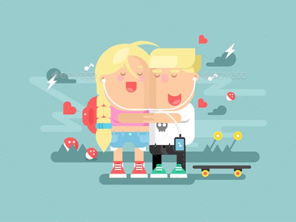 Empathy Boy and Girl - People Characters