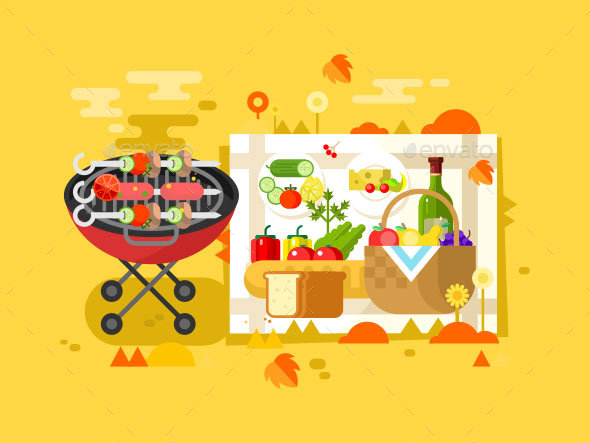 BBQ Party Design Flat - Food Objects