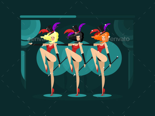 Cabaret Dance Girls - People Characters