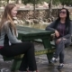 Two Beautiful Women Talking To Each Other, Sitting On a Park Bench - VideoHive Item for Sale