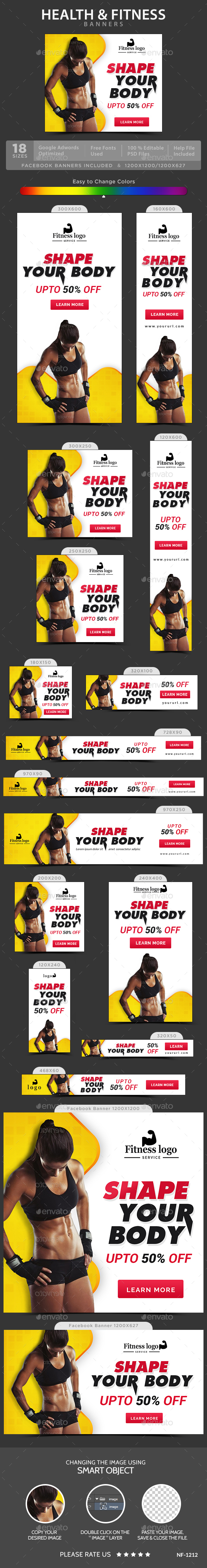 Health And Fitness Banners - Banners & Ads Web Elements