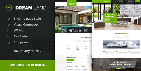 DREAM LAND- Single Property Real Estate WordPress Theme - Real Estate WordPress