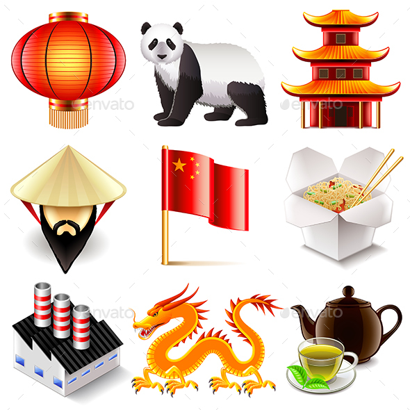 China Icons Set  - Travel Conceptual