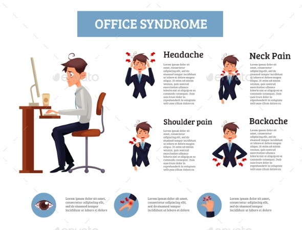 Concept of Office Syndrome in Men - People Characters