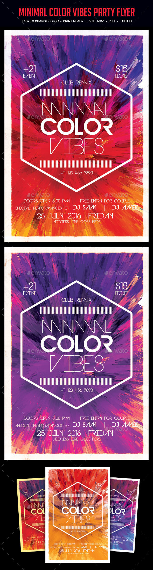 Minimal Color Vibes Party Flyer - Clubs & Parties Events