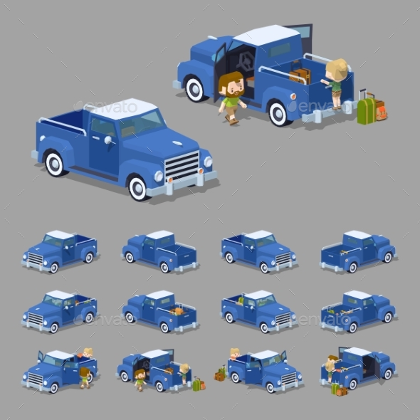 Low Poly Blue Retro Pickup - Man-made Objects Objects