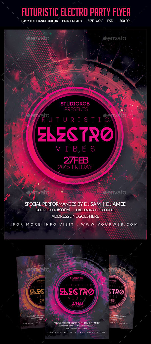 Futuristic Electro Party Flyer - Clubs & Parties Events