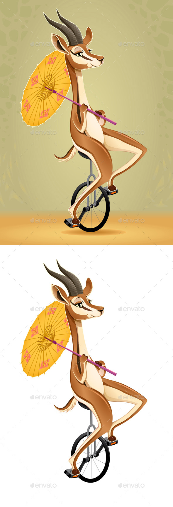 Gazelle on an Unicycle - Animals Characters