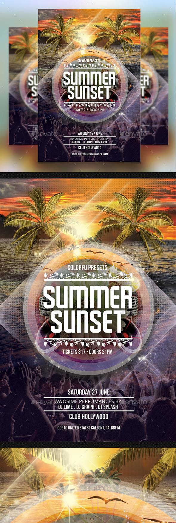 Summer Sunset Flyer - Clubs & Parties Events