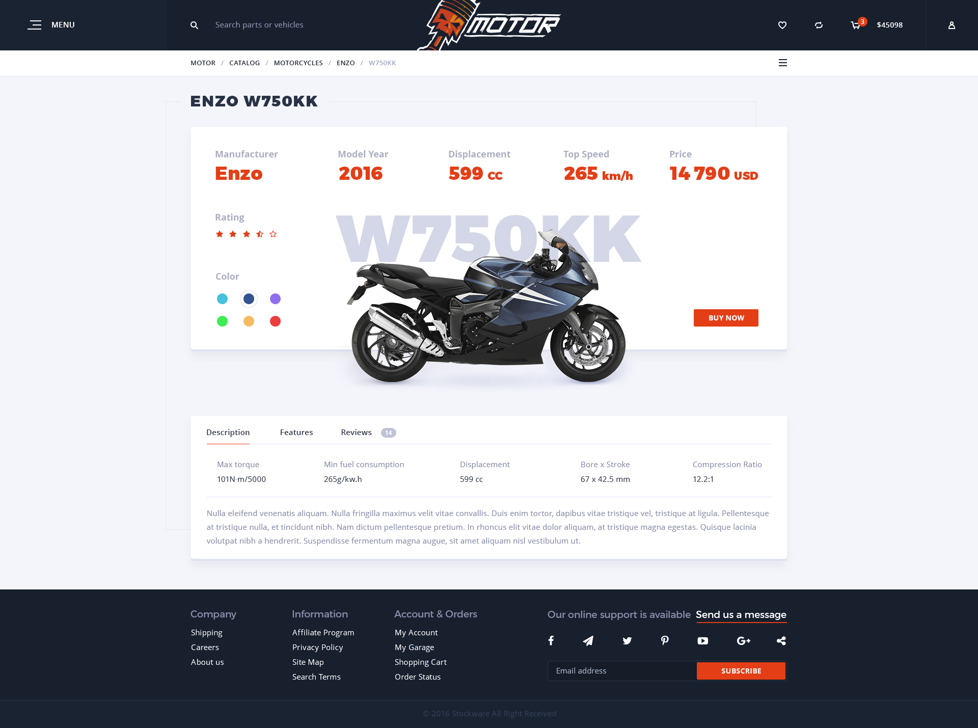 Motor Vehicles Parts Accessories Store Psd Template