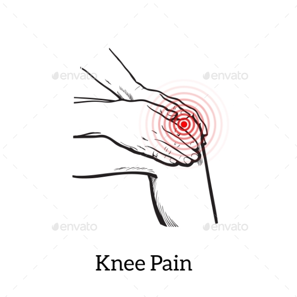 Illustration of Knee Pain Hands Holding Leg - People Characters