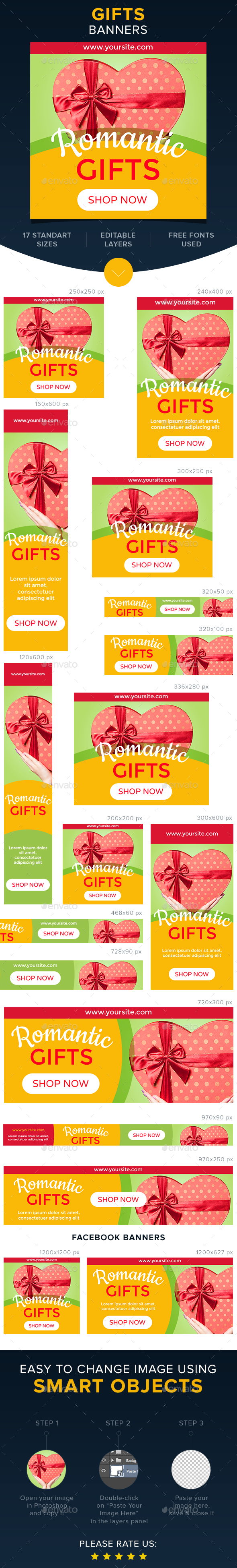 Gifts Banners - Banners & Ads Web Elements
