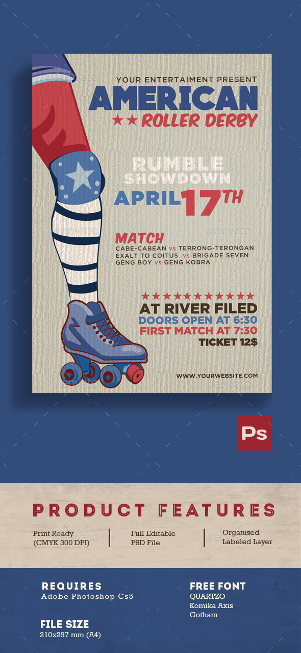 American Roller Derby - Flyers Print Templates