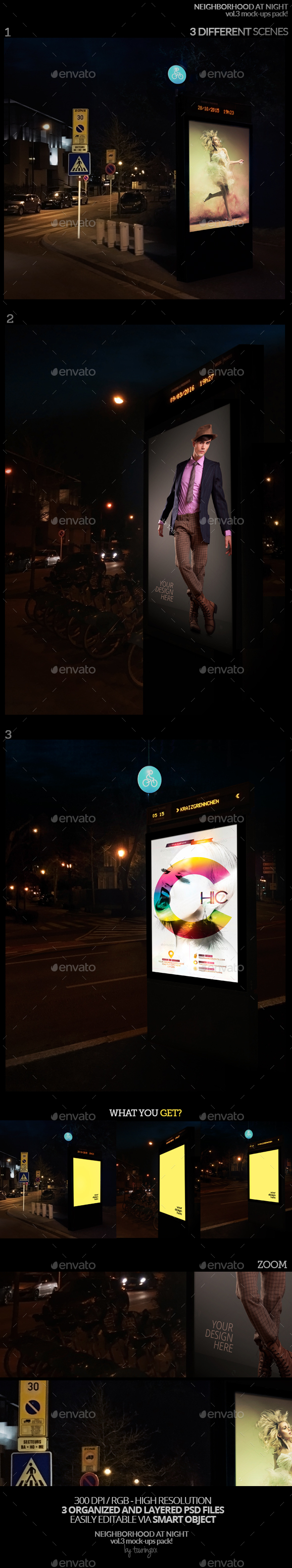 Neighborhood At Night Vol.3 Mock-Ups Pack - Product Mock-Ups Graphics