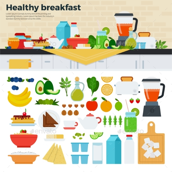 Healthy Breakfast on the Table in Kitchen - Food Objects
