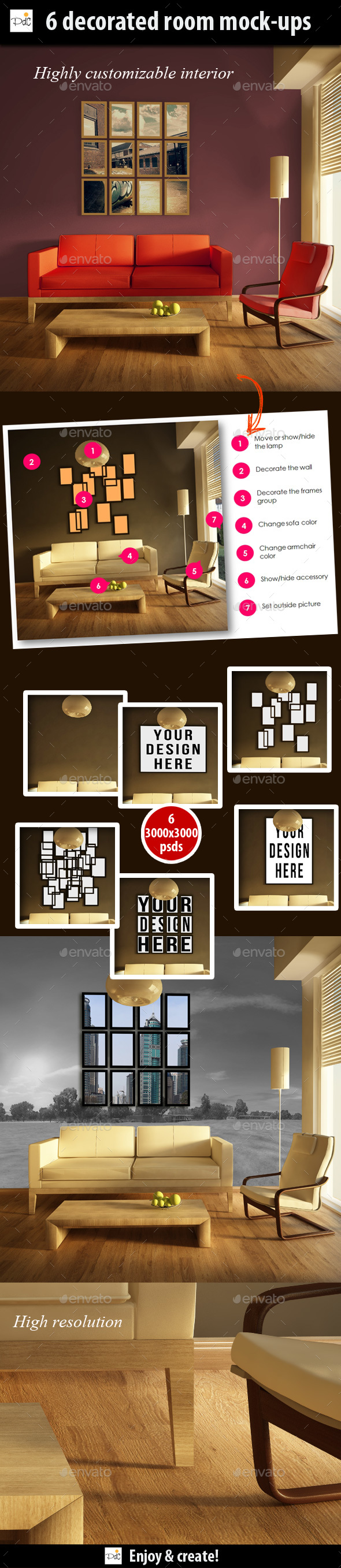 Decorated room with wall and photo frames mock-ups - Miscellaneous Product Mock-Ups
