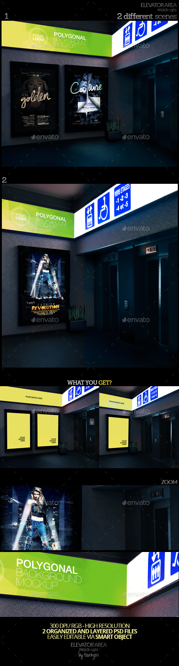 Elevator Area Mock-Ups - Product Mock-Ups Graphics