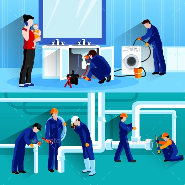 Two Plumber Horizontal Compositions - People Characters