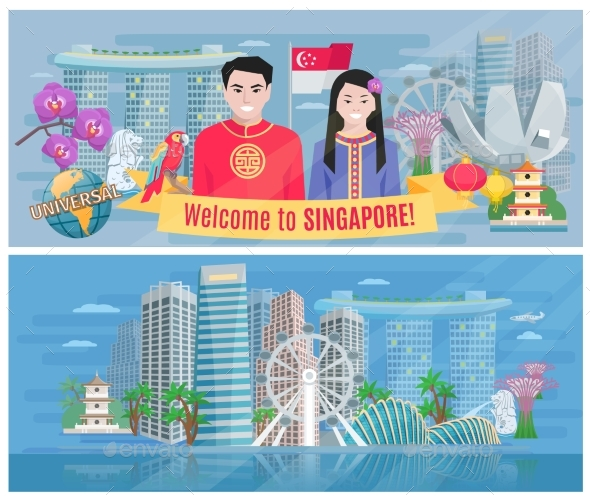 Singapore Culture 2 Flat Horizontal Banners   - Travel Conceptual