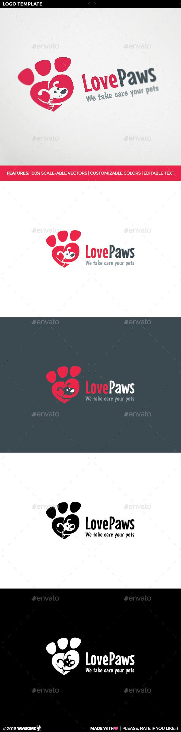 Love Paws Logo - Animals Logo Templates
