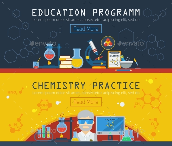 Two Chemistry Horizontal Banners  - Concepts Business