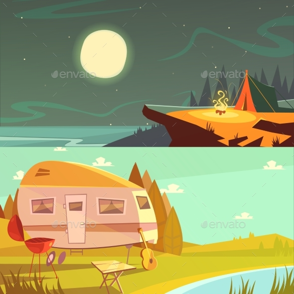 Hiking and Camping Banners Set - Travel Conceptual