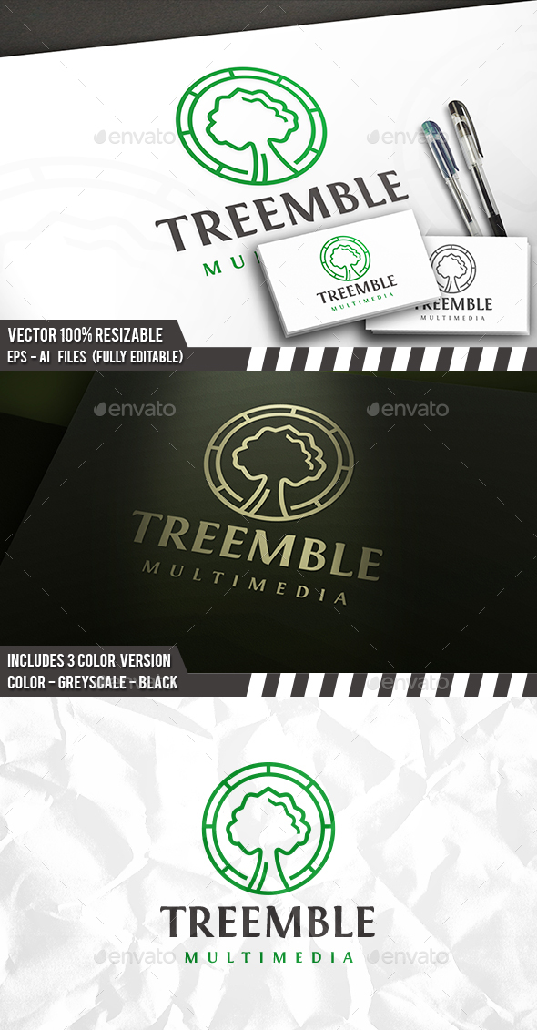 Tree Emblem Logo - Nature Logo Templates