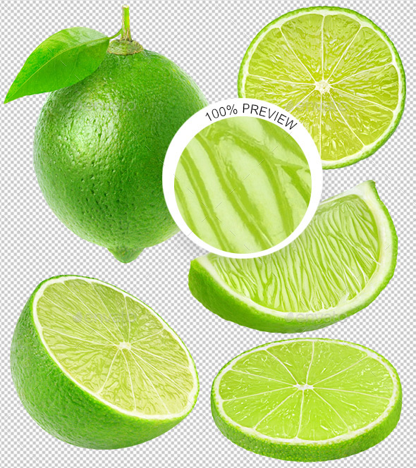 Collection of Isolated Lime Pieces - Food & Drink Isolated Objects
