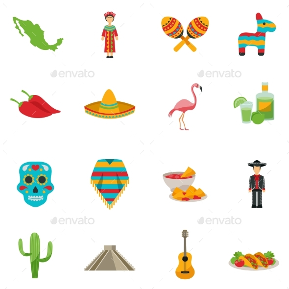 Mexico Flat Icon Set - Objects Icons