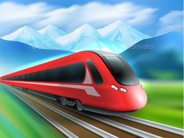 Speed Train Mountains Background Realistic Poster - Travel Conceptual