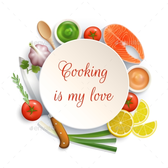 Flat Lay Cooking Circle Composition  - Backgrounds Decorative