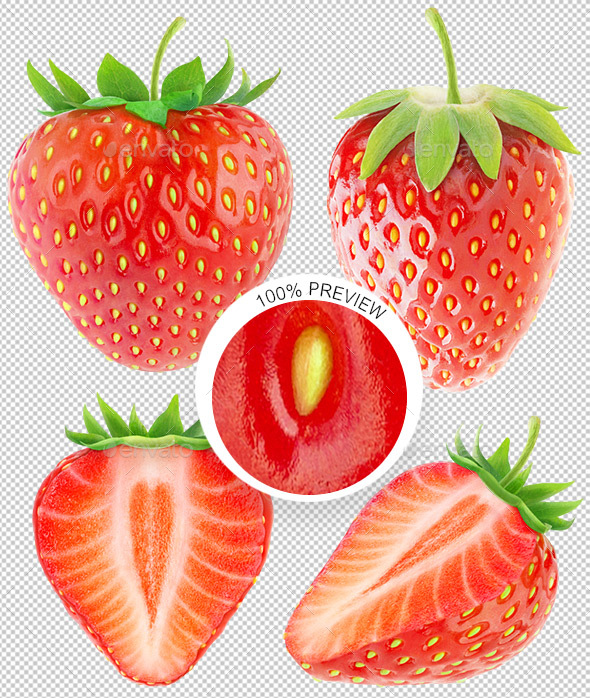 Collection of Isolated Strawberries - Food & Drink Isolated Objects