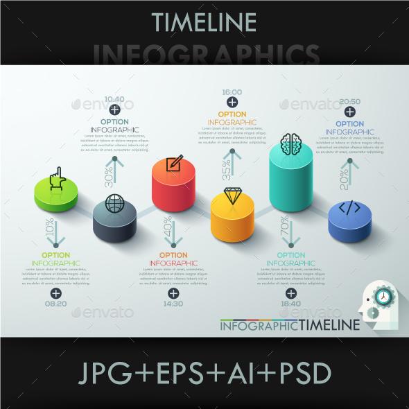 Modern 3D Style Cylinder Timeline - Infographics