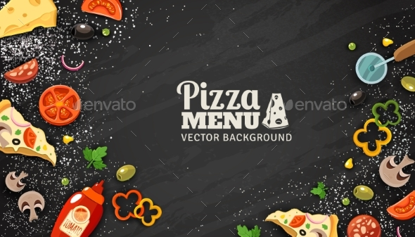 Pizza Menu Chalkboard Background  - Food Objects
