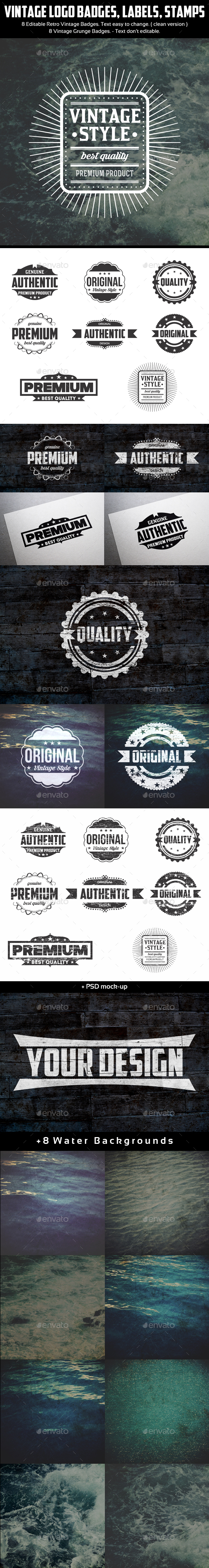 Authentic Vintage Badges & Labels - Badges & Stickers Web Elements