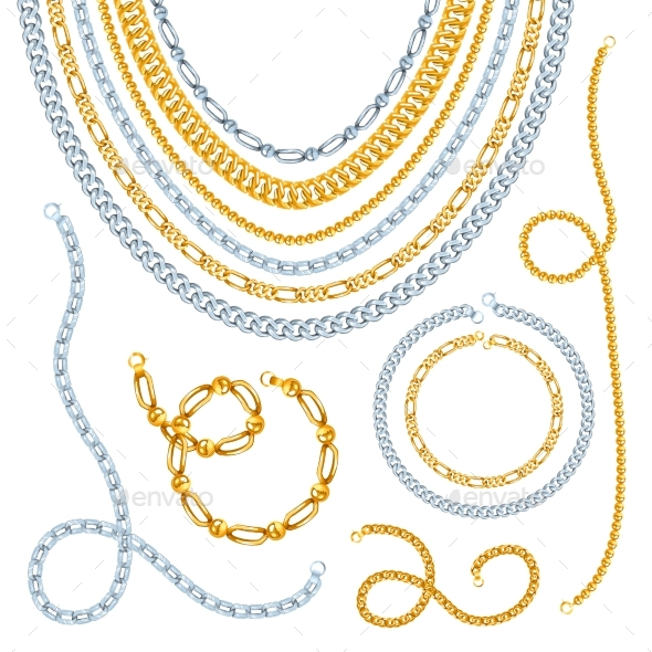 Golden and Silver Chains Set - Man-made Objects Objects
