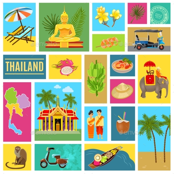 Thailand Tiled Poster - Travel Conceptual