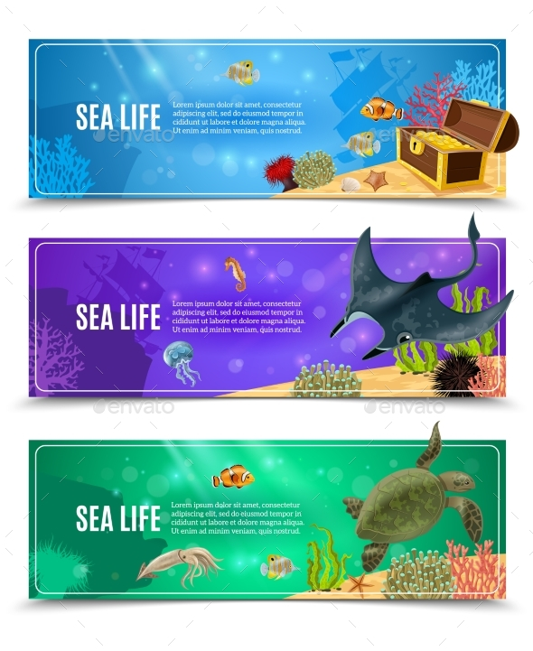 Sea Life Banner Set - Animals Characters