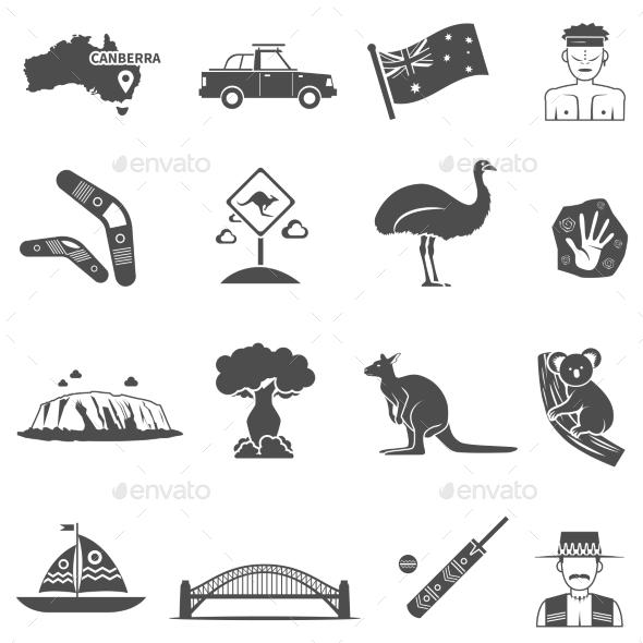 Australia Black White Icons Set  - Animals Characters