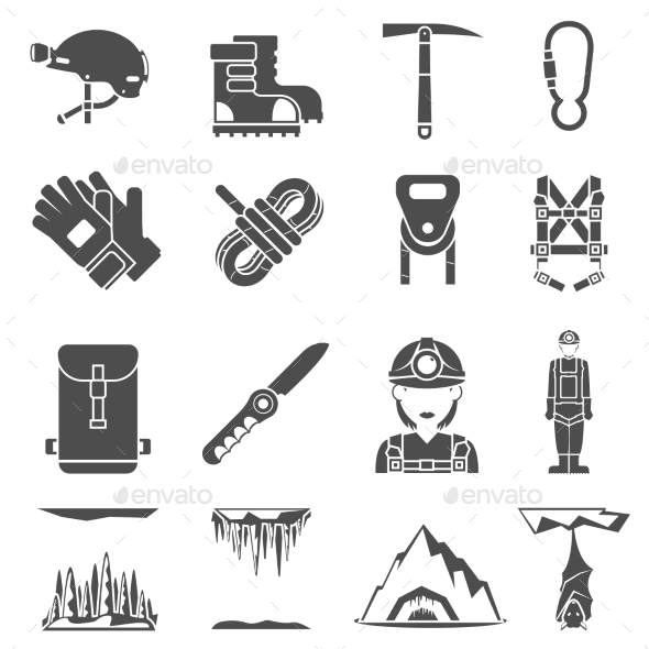 Speleology Black Icons Set - Objects Icons