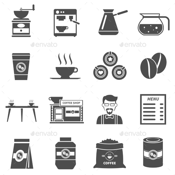 Coffee Shop Black Icons Set - Food Objects
