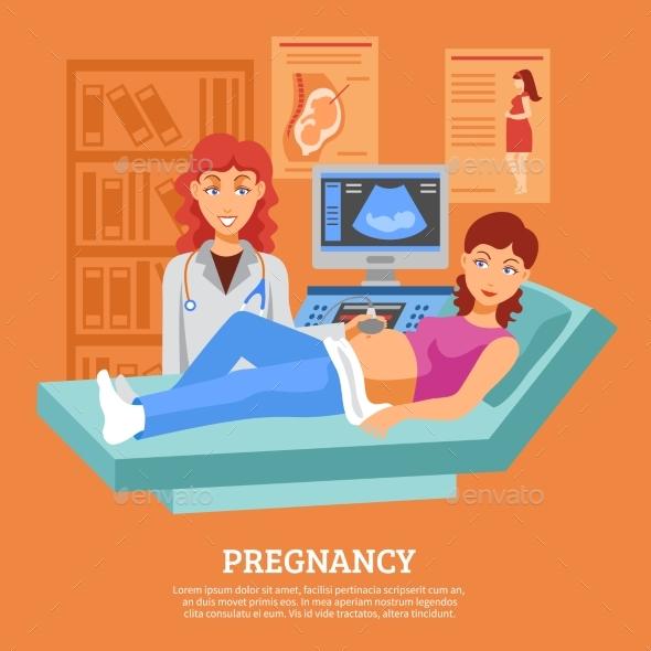 Pregnant Ultrasound Checking Poster - Health/Medicine Conceptual