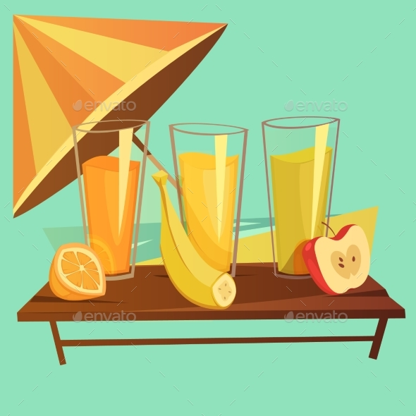 Healthy Drinks Cartoon Set - Food Objects