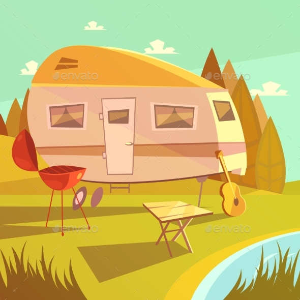 Trailer and Camping Illustration  - Travel Conceptual