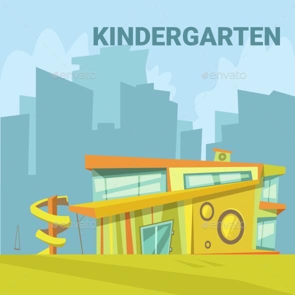 Kindergarten Cartoon Background - Buildings Objects