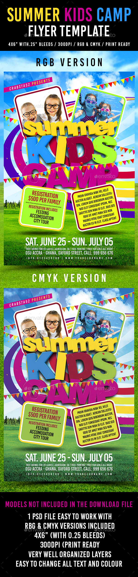 Summer Kids Camp Flyer Template - Events Flyers