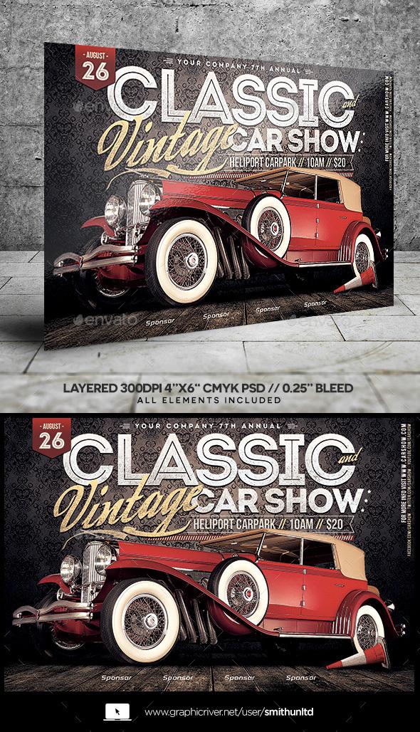 car show classic vintage flyer horizontal by smithunltd graphicriver. Black Bedroom Furniture Sets. Home Design Ideas