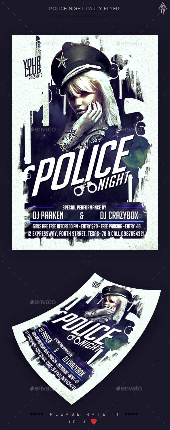 Police Party Flyer Template - Clubs & Parties Events